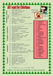 English Worksheet: All I want for Christmas Mariah Carey Justin Bieber (part 2)
