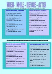 English Worksheet: WHEN-WHILE-BEFORE-AFTER