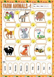 English Worksheet: FARM ANIMALS 1 - MATCHING