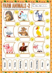 English Worksheet: FARM ANIMALS 2 - MATCHING