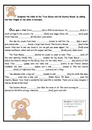 English worksheets: Country Mouse and City Mouse fable