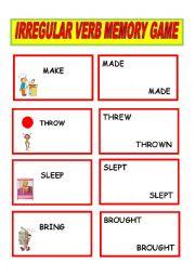 English Worksheets: verb memory game