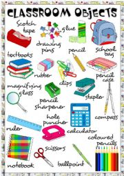 English Worksheet: Classroom objects - poster