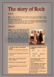 English Worksheet: Reading comprehension and listening about Rock and Queen.