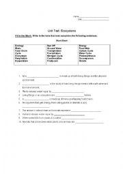 English Worksheet: Ecosystems Test
