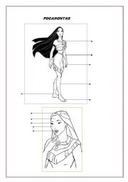 English Worksheet: pocahontas, parts of the body.
