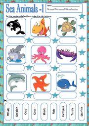 English Worksheet: SEA ANIMALS 1 - MATCHING