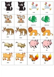 English worksheets animal memory game 1 for Classic jungle house for small animals