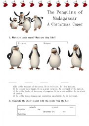 English Worksheet: The Penguins of Madagascar (A Christmas Caper)