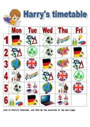 English Worksheet: Harry´s timetable