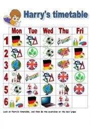 English Worksheet: Harry´s timetable