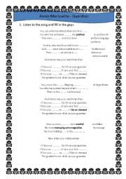 English Worksheet: SONG  by Alanis Morissette GUADRIAN