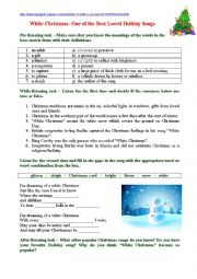 English Worksheet: White Christmas: One of the Best Loved Holiday Songs