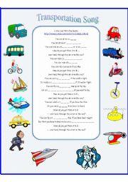 English Worksheet: Transportation Song