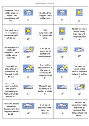 English Worksheet: Weather game - go fish