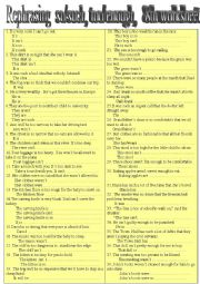 English Worksheet: Rephrasing,              too/enough,so/such,                      8th. worksheet