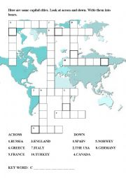 English Worksheet: Capital Cities Across- down Puzzle