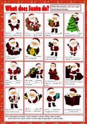 English Worksheet: WHAT DOES SANTA DO? + KEY