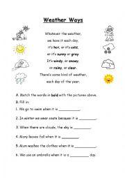 English Worksheet: Weather Ways - Poem and Comprehension