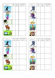 English Worksheet: Talents -pair work