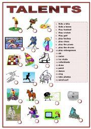 English Worksheet: Talents matching exercise