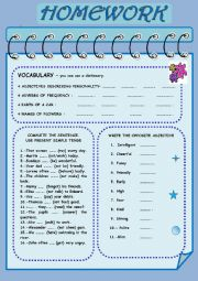 English Worksheet: HOMEWORK:  VOCABULARY AND GRAMMAR