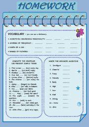 English Worksheet: HOMEWORK:  VOCABULARY AND GRAMMAR