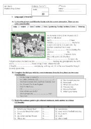 English Worksheet: Test + Listening