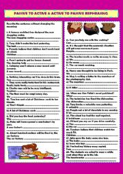 English Worksheet: Passive to active &  active to passive rephrasing (+ key)