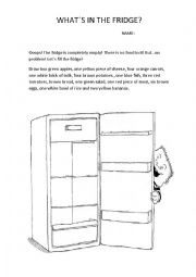 English Worksheet: The empty fridge!