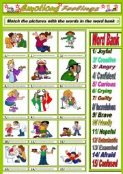 English Worksheet: Emotions/Feelings  part one + Key