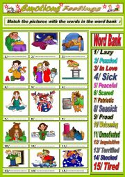 English Worksheet: Emotions/ Feelings Part Two + key