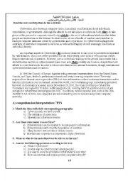 English Worksheet: exam paper on ethics