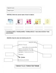 Types of invitations and parts of a letter english worksheet types of invitations and parts of a letter stopboris Images
