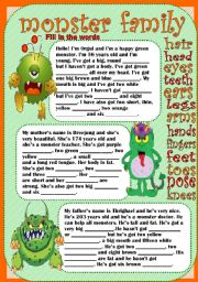 English Worksheet: monster family
