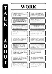 English Worksheet: Work - 18 conversation cards - upper-intermediate level (editable)