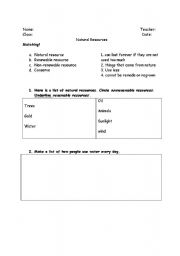 English Worksheets: Resources and Conservation