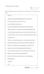 English Worksheet: Proofreading exercise