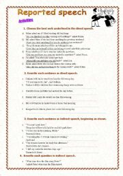 direct and indirect speech practice exercises pdf
