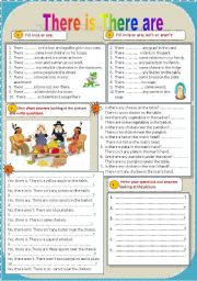 English Worksheet: There is There are (a, an, some, any, no) Positive Negative Interrogative