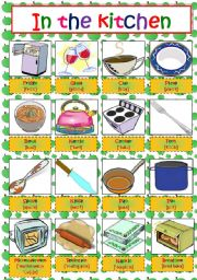In The Kitchen Pictionary Esl Worksheet By Anna Anna