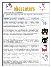 English Worksheet: Hello Kitty characters - gap filling task