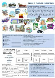 English Worksheet: PLACES IN TOWN AND PREPOSITIONS