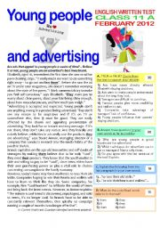 2 page TEST on ADVERTISING (11th grade) + key