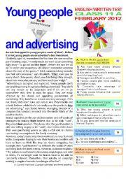 English Worksheet: 2 page TEST on ADVERTISING (11th grade) + key