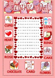 English Worksheet: Valentine´s Day Word Search