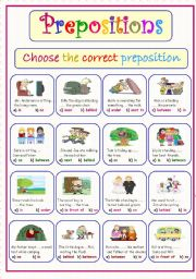 English Worksheet: Preposirions Of Place..Choose the correct answer