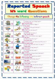 English Worksheet: Reported Speech ..