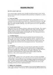 English Worksheets: EOI/ PET Reading Text