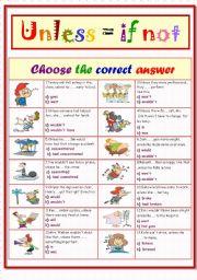 English Worksheet: Unless...